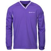 Colorblock V Neck Purple/White Raglan Windshirt-Ambit Energy