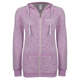 ENZA Ladies Hot Violet Marled Full Zip Hoodie-Ambit Energy