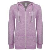 ENZA Ladies Hot Violet Marled Full Zip Hoodie-Ambit Energy