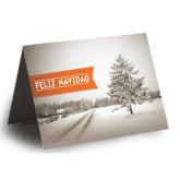 Holiday Card w/ Blank Envelope-Snowy Scene, Feliz Navidad