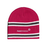 Pink/Charcoal/White Striped Knit Beanie-