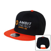 Black/Orange Twill Flat Bill Snapback Hat-Ambit Energy Japan