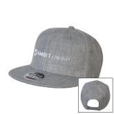 Heather Grey Wool Blend Flat Bill Snapback Hat-Ambit Energy