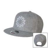 Heather Grey Wool Blend Flat Bill Snapback Hat-Spark