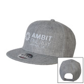 Heather Grey Wool Blend Flat Bill Snapback Hat-Ambit Energy Japan