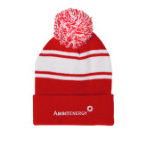 Red/White Two Tone Knit Pom Beanie with Cuff-