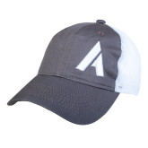 Charcoal/White Mesh Back Unstructured Low Profile Hat-A