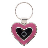 Silver/Pink Heart Key Holder-Spark Engraved