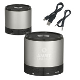 Wireless HD Bluetooth Silver Round Speaker-Ambit Energy  Engraved