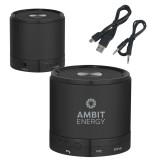 Wireless HD Bluetooth Black Round Speaker-Ambit Energy  Engraved