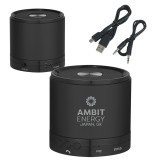 Wireless HD Bluetooth Black Round Speaker-Ambit Energy Japan  Engraved