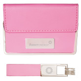 Business Card Case and Key Ring Set Pink-Engraved