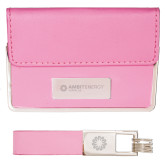 Business Card Case and Key Ring Set Pink-Ambit Energy Japan  Engraved