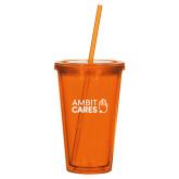Madison Double Wall Orange Tumbler w/Straw 16oz-Ambit Cares