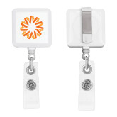 White Square Retractable Badge Holder-Spark