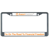 Metal License Plate Frame in Black-, Im On The Road to Financial Freedom