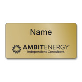 Ambit 3X1.5 Brass Aluminum Name Badge w/ Magnetic Back-