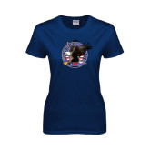 Ladies Navy T Shirt-AMA Freedom Rider