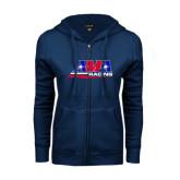 ENZA Ladies Navy Fleece Full Zip Hoodie-AMA Racing