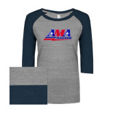 ENZA Ladies Athletic Heather/Navy Vintage Triblend Baseball Tee-AMA Racing