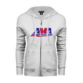 ENZA Ladies White Fleece Full Zip Hoodie-AMA Racing