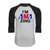 White/Black Raglan Baseball T-Shirt-AMA Zing