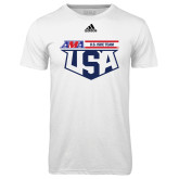 Adidas Climalite White Ultimate Performance Tee-AMA US ISDE Team