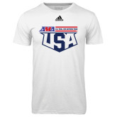 Adidas Climalite White Ultimate Performance Tee-AMA US Trial Des Nations Team