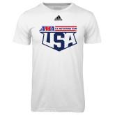 Adidas Climalite White Ultimate Performance Tee-US Motorcross Team