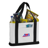 Contender White/Black Canvas Tote-AMA Racing