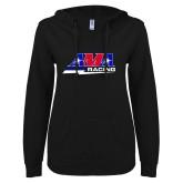 ENZA Ladies Black V-Notch Raw Edge Fleece Hoodie-AMA Racing