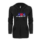 ENZA Ladies Black Light Weight Fleece Full Zip Hoodie-AMA Racing