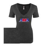 Next Level Ladies Vintage Black Tri Blend V-Neck Tee-Official Logo