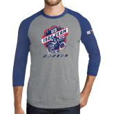 Grey/Royal Heather Tri Blend Baseball Raglan-US ISDE Team