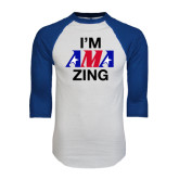 White/Royal Raglan Baseball T Shirt-AMA Zing
