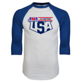 White/Royal Raglan Baseball T Shirt-AMA US ISDE Team