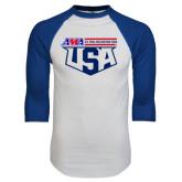 White/Royal Raglan Baseball T Shirt-AMA US Trial Des Nations Team
