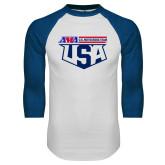 White/Royal Raglan Baseball T Shirt-US Motorcross Team
