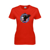 Ladies Red T Shirt-AMA Freedom Rider