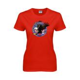 Ladies Red T Shirt-AMA Freedom Rider