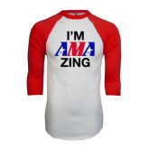 White/Red Raglan Baseball T-Shirt-AMA Zing