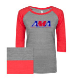 ENZA Ladies Athletic Heather/Red Vintage Triblend Baseball Tee-Official Logo