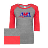 ENZA Ladies Athletic Heather/Red Vintage Triblend Baseball Tee-AMA Racing