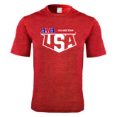 Performance Red Heather Contender Tee-AMA US ISDE Team