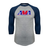 Grey/Navy Raglan Baseball T Shirt-Official Logo