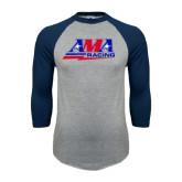 Grey/Navy Raglan Baseball T Shirt-AMA Racing