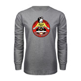 Grey Long Sleeve T Shirt-Muffler Mike