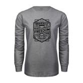 Grey Long Sleeve T Shirt-Retro Freedom to Ride