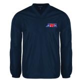 V Neck Navy Raglan Windshirt-AMA