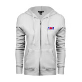 ENZA Ladies White Fleece Full Zip Hoodie-AMA